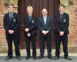 Mr Thomas with the new Head Boy and Deputy Head Boys